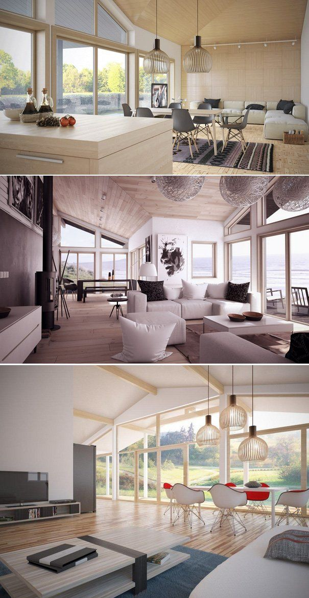Living rooms with open plan + vaulted ceiling, modern interior design
