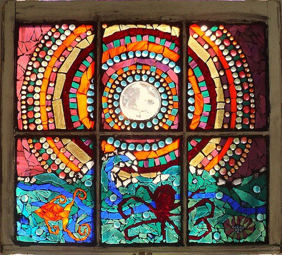 mosaic stained glass window | Stained Glass Mosaic Ocean Moon Rise Antique by mandolin2 on Etsy