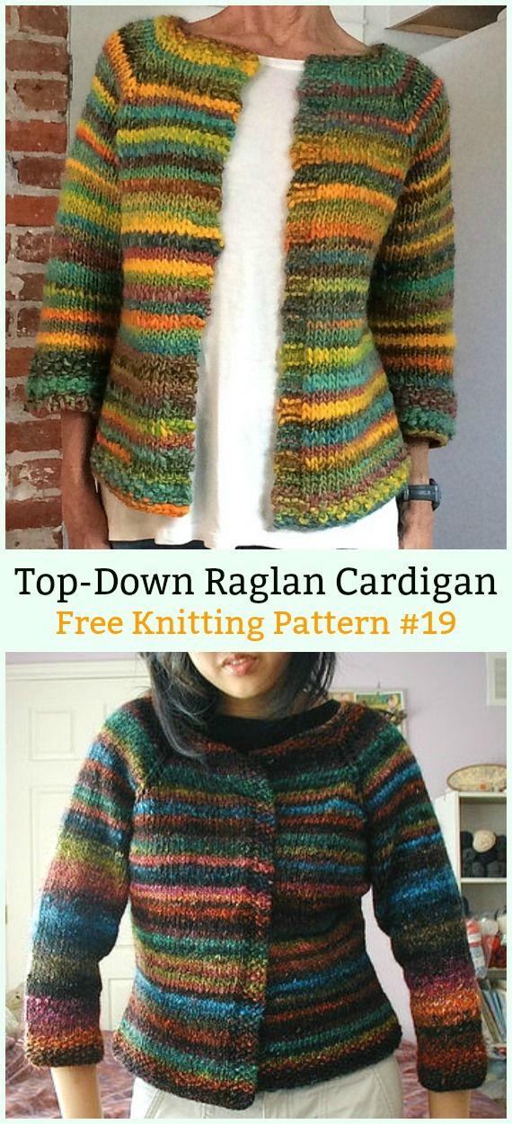 Top-Down Raglan Cardigan Sweater Free Knitting Pattern - Women  Cardigan  Sweater  Coat Free  Knitting  Patterns 3539d8618
