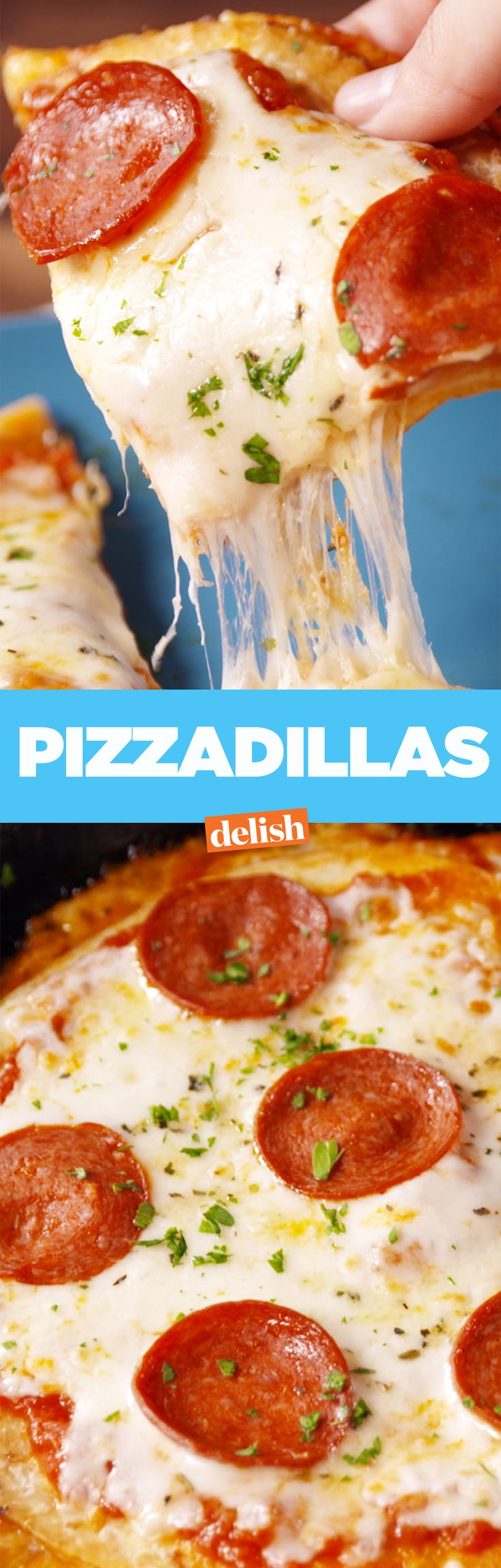 Pizza + quesadilla = the most comforting thing you'll ever taste. Get the recipe on Delish.com.