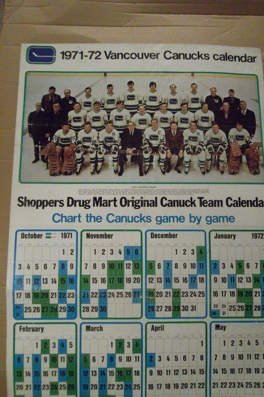 1971-72 Vancouver Canucks calendar.