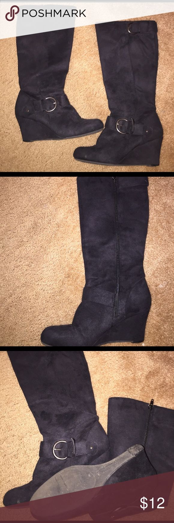 Black, wedge boots Black boots with buckles. A little worn on the bottom heel but in good condition. Shoes Heeled Boots