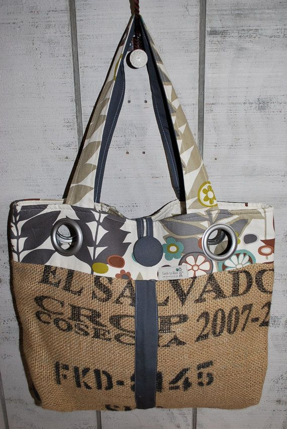Repurposed Upcycled Recycled Large Coffee Bean Bag by AliceBags, $49.00