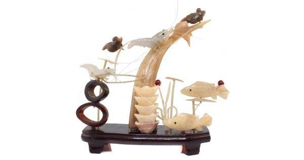 Inedita diorama acvatica - sculptura in os, cuarț, onix & corn - China
