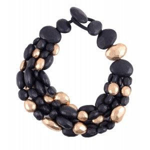 Collar Monies ebano negro y papel oro www.sanci.es