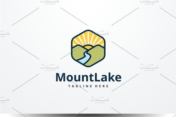 Mountain Lake Logo by yopie on @creativemarket