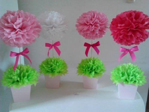 Resultado de imagen para centro de mesa de boda con pompones de papel