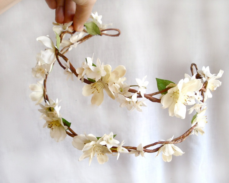 ivory wedding head piece  - BO PEEP -  rustic chic, flower head wreath. $58.00, via Etsy.