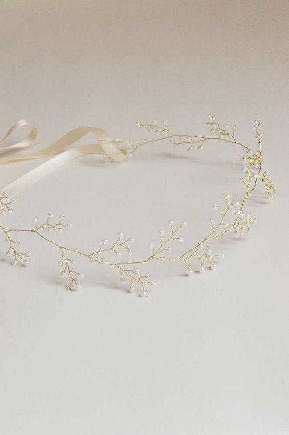 wedding vine crown golden headband bridal tiara by Elibre on Etsy, €40.00