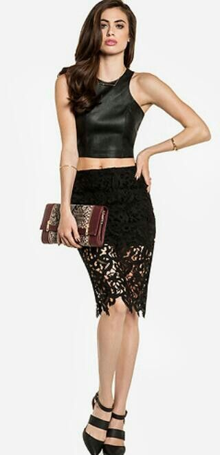 Leather crop top and lace skirt