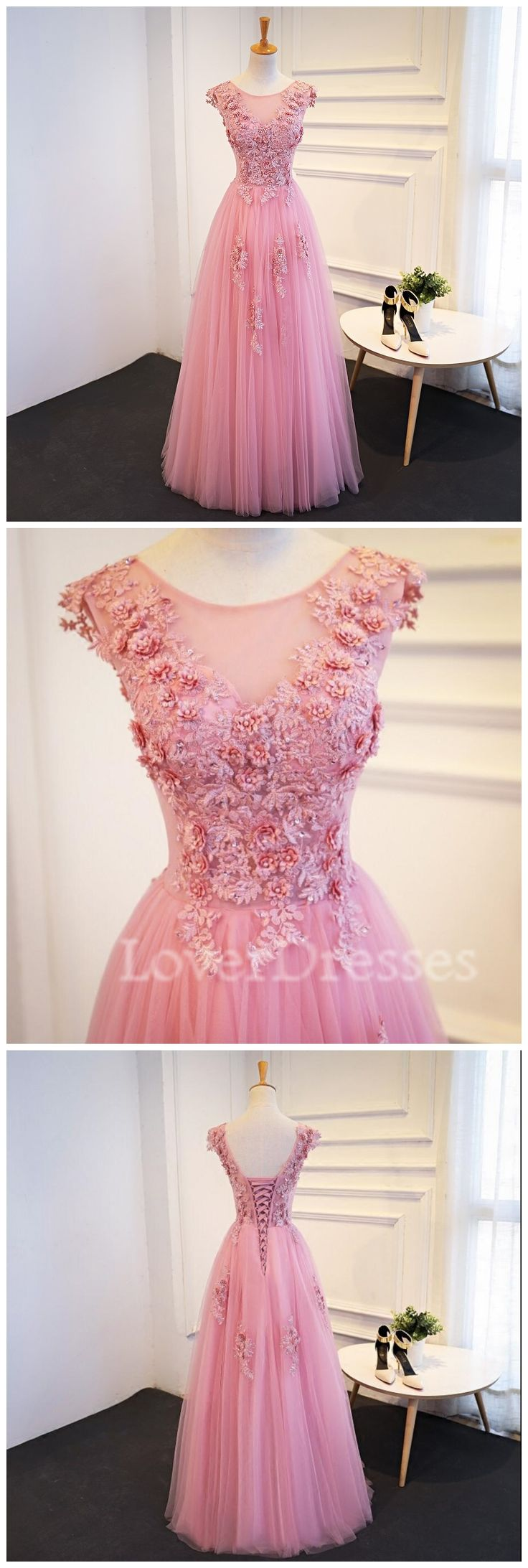 Blush Pink Cap Sleeve Lace Scoop Neckline Lace Beaded Evening Prom Dresses, 2018 Party Prom Dress, Custom, 271039