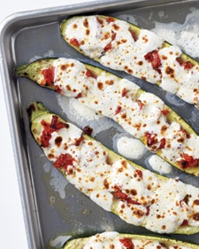 Stuffed Zucchini With Tomatoes And Mozzarella - Martha Stewart Recipes: Food Recipes, Side Dishes, Dinners, Mozzarella Recipes, Zucchini Recipes, Zucchini Tomatoes, Stuffed Zucchini, Yummy, Martha Stewart
