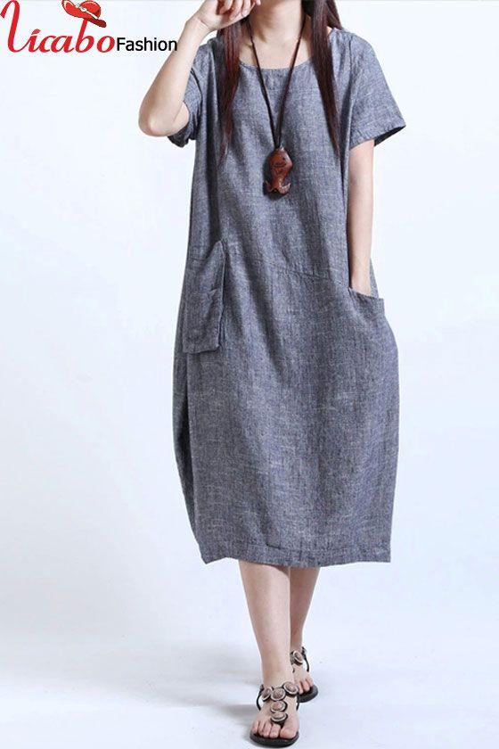 5046134604b53 Women Summer Beach Long Maxi Dress Cotton Linen Vintage Casual Loose ...