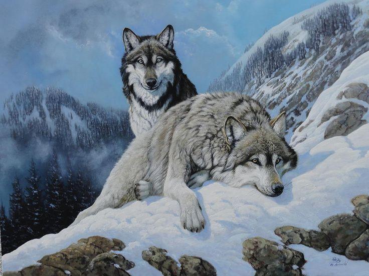 Image du Blog vanilie.centerblog.net Artista: Roberto Bianchi Título: Lupi grigi 2 (lobos grises 2), pintura al óleo sobre lienzo.