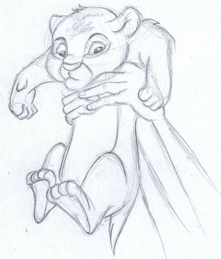 disney sketch - baby simba, the lion king