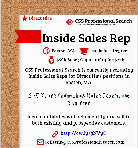 CSS is #hiring Inside Sales Reps in Boston, MA l $50,000 annual l - how to email resume