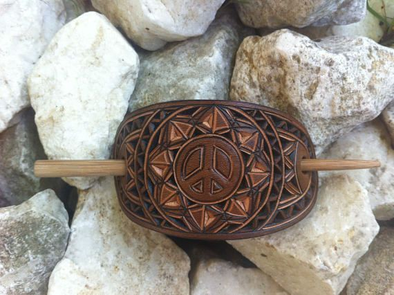 Peace sign hand carved leather hair barrette
