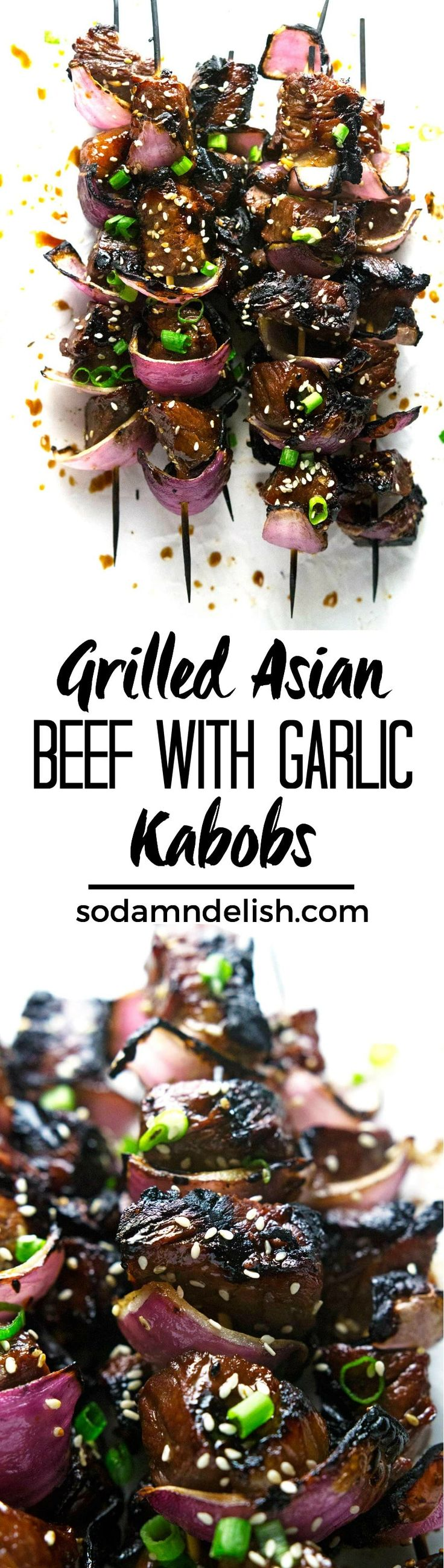These grilled Asian Beef with Garlic Kabobs are marinated in a delicious Asian marinade then grilled to juicy perfection.