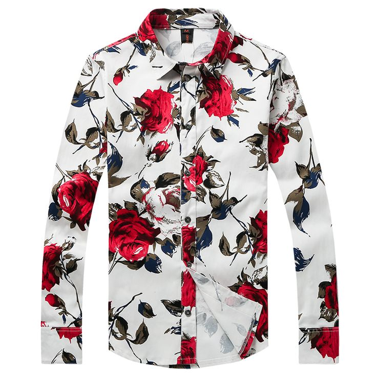 Casual Shirt for Men Red Floral brand Printed Shirts Fashion Shirt Young Men Trendy Modern Look Long Sleeve Male Fit Gent Life