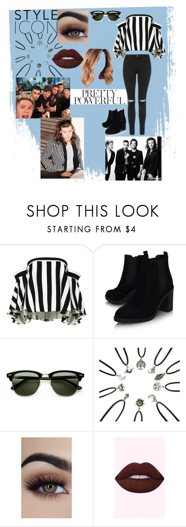 """""""Interviews w/ One Direction [Dating Harry]"""" by sky701 ❤ liked on Polyvore featuring Milly, Topshop and Ray-Ban"""