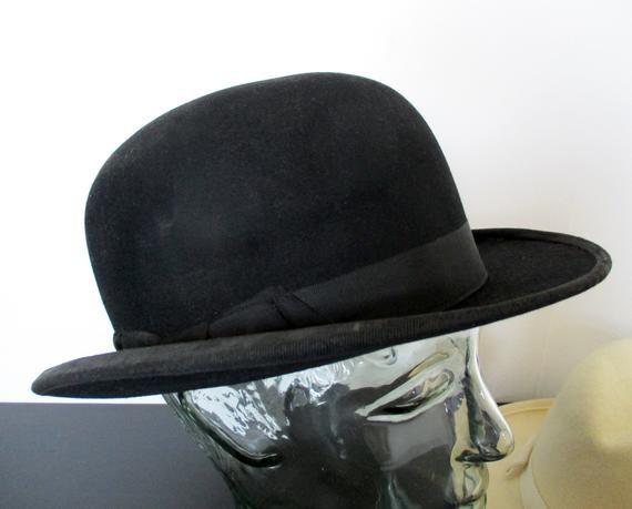 Antique French Black Bowler Hat Vintage Bowler Hat Black Etsy In 2021 Black Bowler Hat Derby Hats Hats Vintage