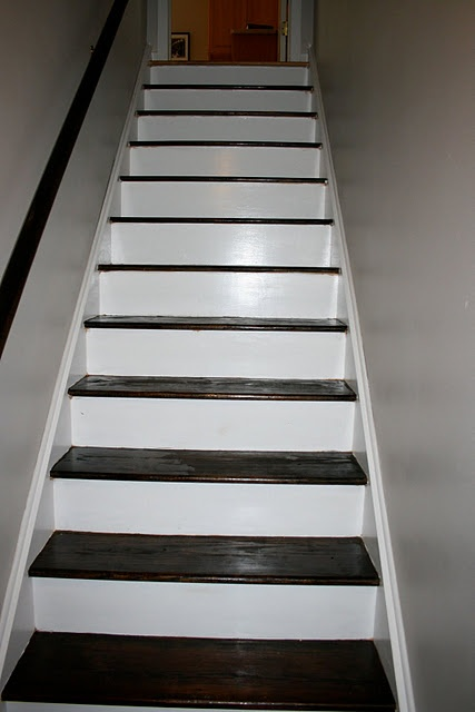 Stairs Re-Done.  Skip every other when staining.  Genious.