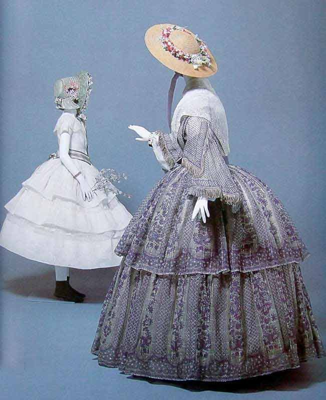 1850s women's day dress and child's dress
