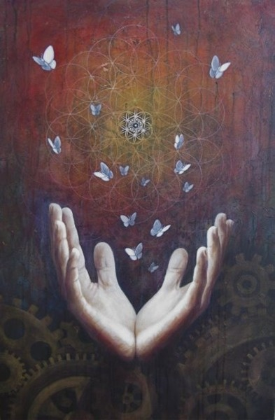flower of life with butterflies