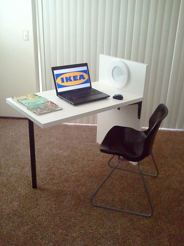 """Materials: One (1) ADILS Leg, Three (3) EKBY STÖDIS Bracket, Two (2) LINNMON Table top This desk design is composed of LINNMON Table tops joined together with EKBY STÖDIS Brackets, and one ADILS Leg. The """"Uni-Leg Desk"""" is a perfect laptop or writing-desk. It can also be used in a small kitchen as a breakfast-table [&hellip"""