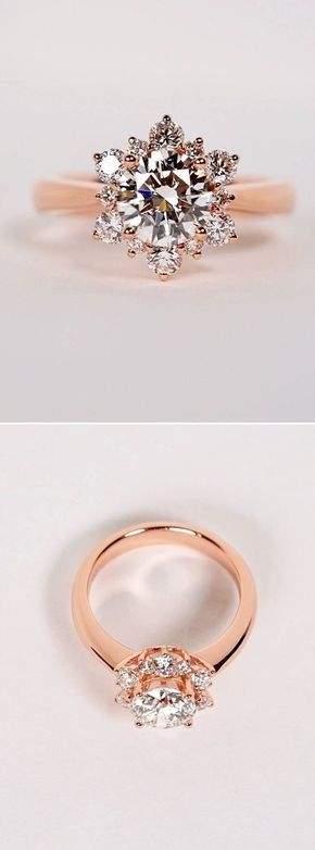 Beautiful rose gold engagement ring inspired by a snowflake facebook beautiful rose gold engagement ring inspired by a snowflake facebook and instagram the wedding scoop junglespirit Choice Image