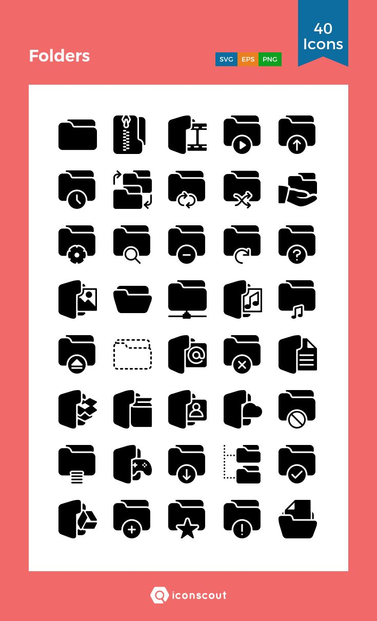 Folders   Icon Pack - 40 Solid Icons