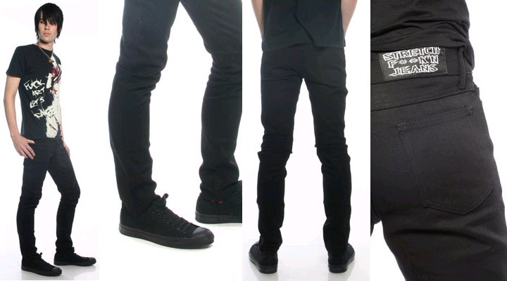 Classic Pegged Guys Stretch Jeans in BLACK by Lip Service ...
