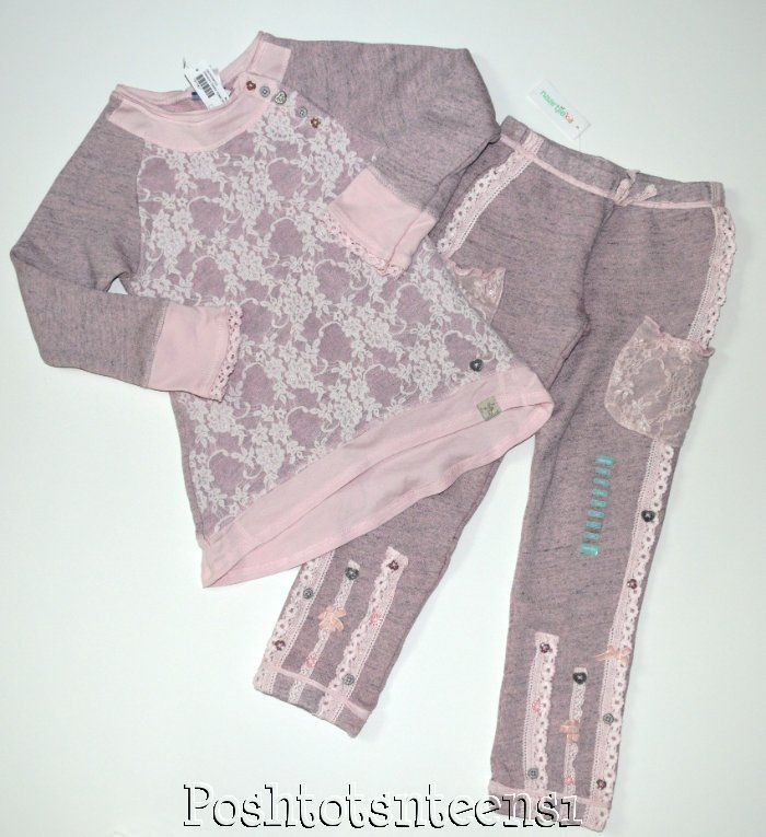 Naartjie Vintage Lace China French Terry Tunic Top Pants Set 7 NWT NEW sl1-6 #Naartjie