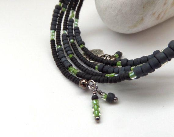 Black and Lime Memory Bracelet Designer Bangle  Matt