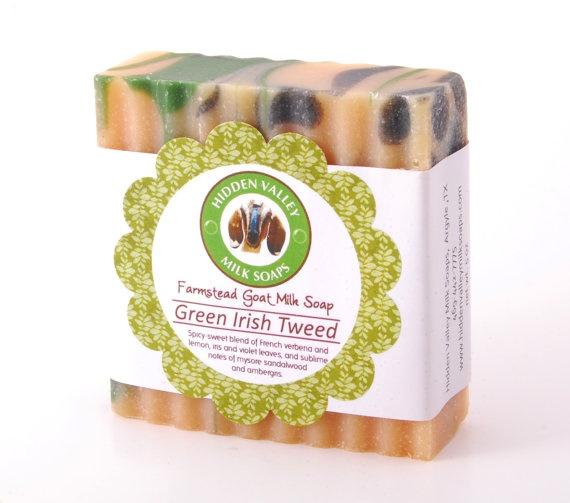 GREEN IRISH TWEED Handmade Goat's Milk Bar by HiddenValleyMilkSoap, $6.50
