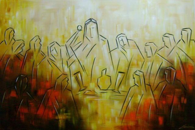 Quadros pintados a mão Santa ceia moderna pronta entrega