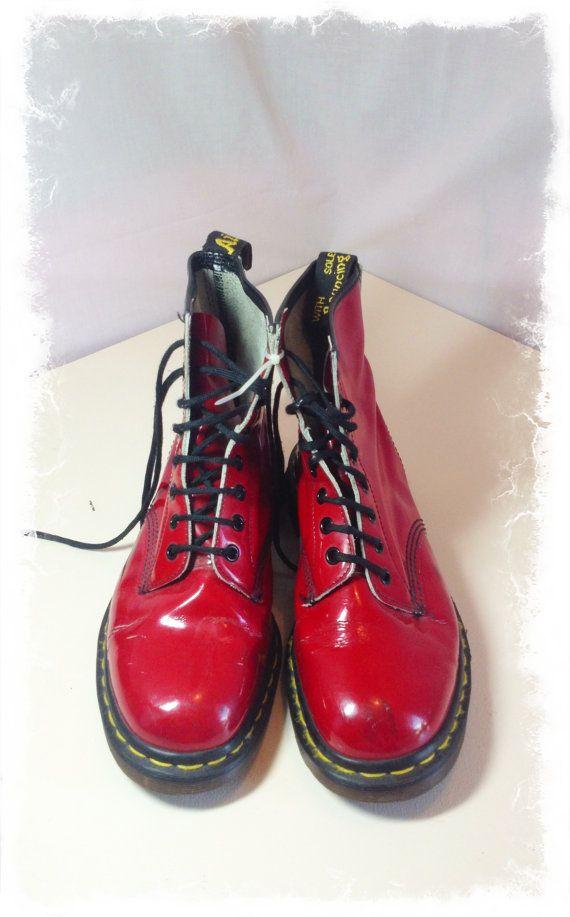 Doc Marten Red Patent Lace Booties US 9 Women 7 Men