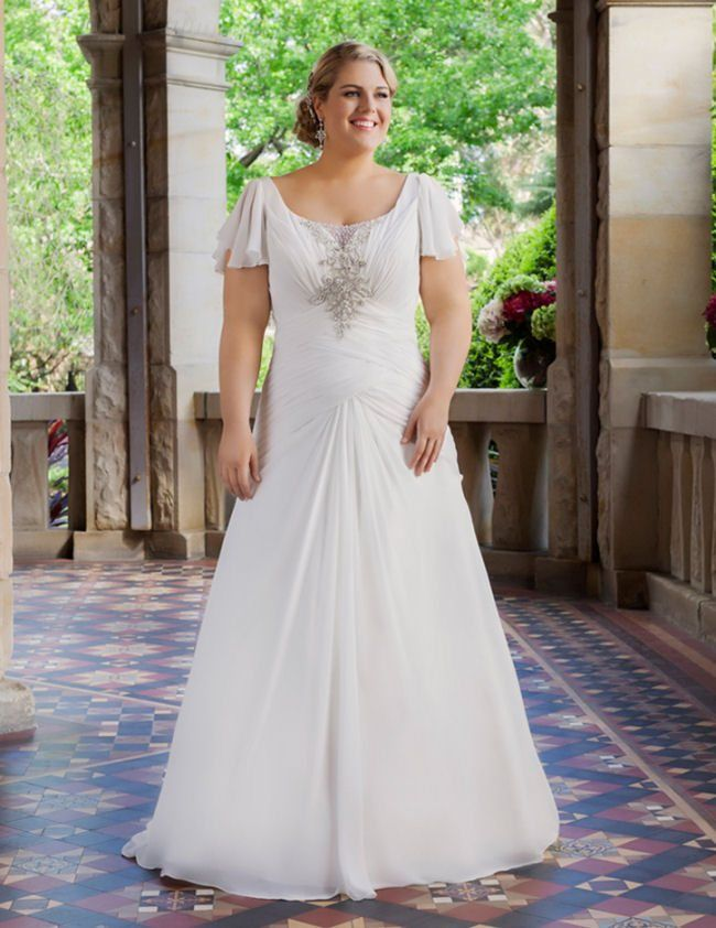 Weddings brides plussize bridalgown flutter sleeve for Wedding dresses for short curvy brides