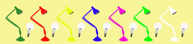 Lamp & Bulb pattern using different colors.