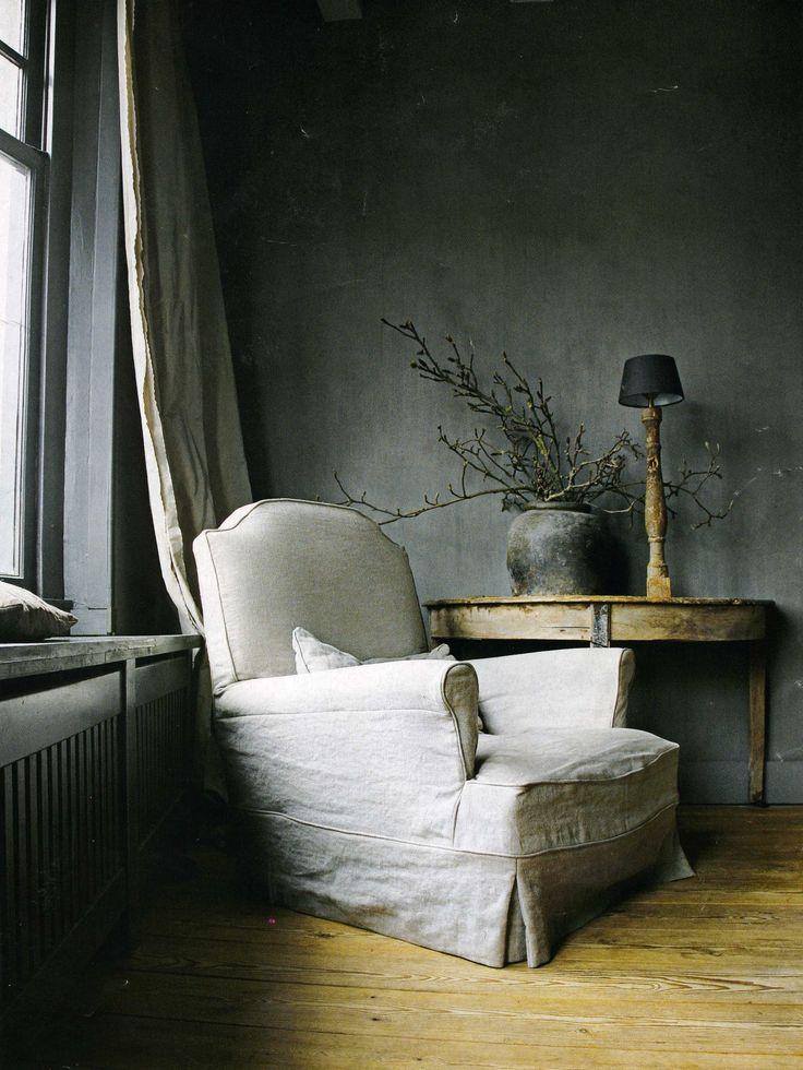linen upholstery, charcoal walls