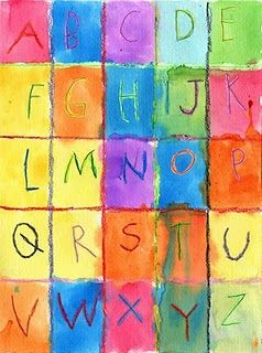 ABC Watercolor Resist. - would love to do this in a class each child doing a letter or two.