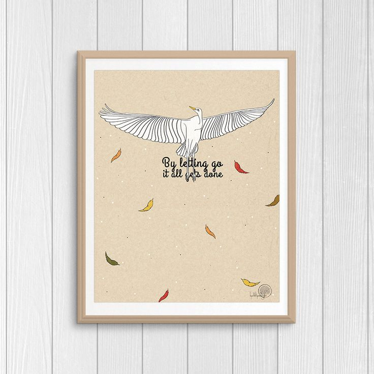 By letting go it all gets done inspirational quote wall art, Lao Tzu quote print, ancient China philosophy quote, bird and feather decor by Lepetitchaperon on Etsy