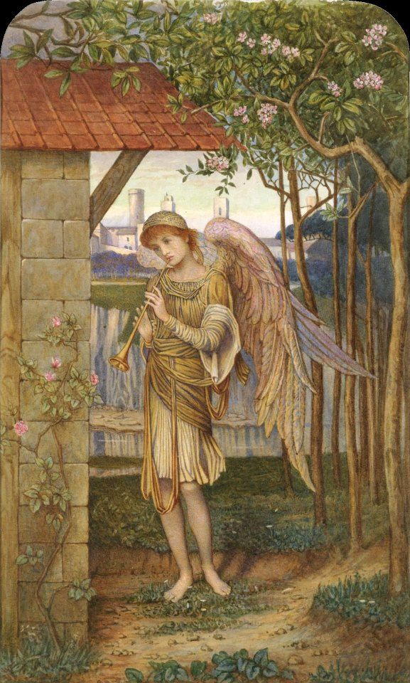 John Melhuish Strudwick (English Pre-Raphaelite painter) 1849 - 1937 An Angel, from a Golden Thread, ca. 1885 watercolour, arched top 33 x 20 cm. (13 x 8 in.) private collection  This watercolour replicates a section of Strudwick's oil painting A Golden Thread of 1885, which hangs in Tate Britain, London.
