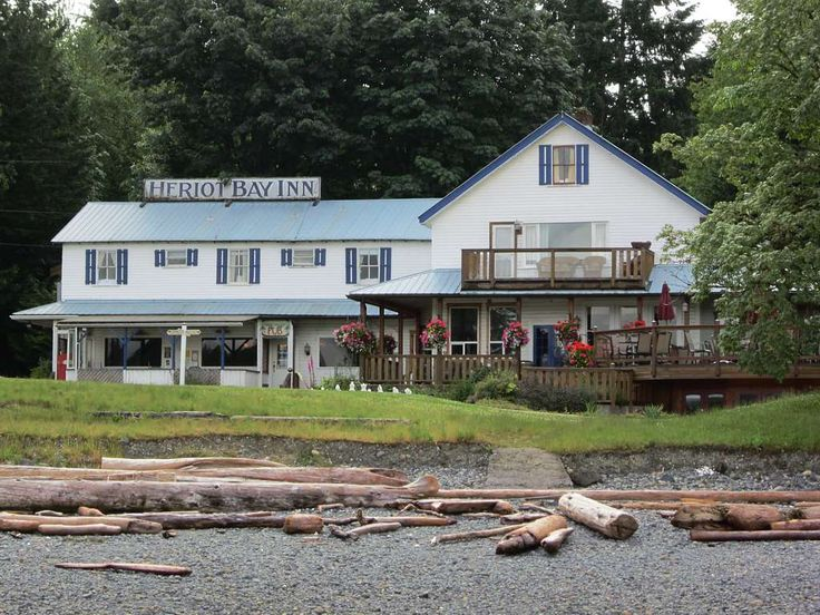 The Heriot Bay Inn (1912) on Quadra Island, British Columbia, Canada, is adjacent to the ferry terminal for Cortes Island.