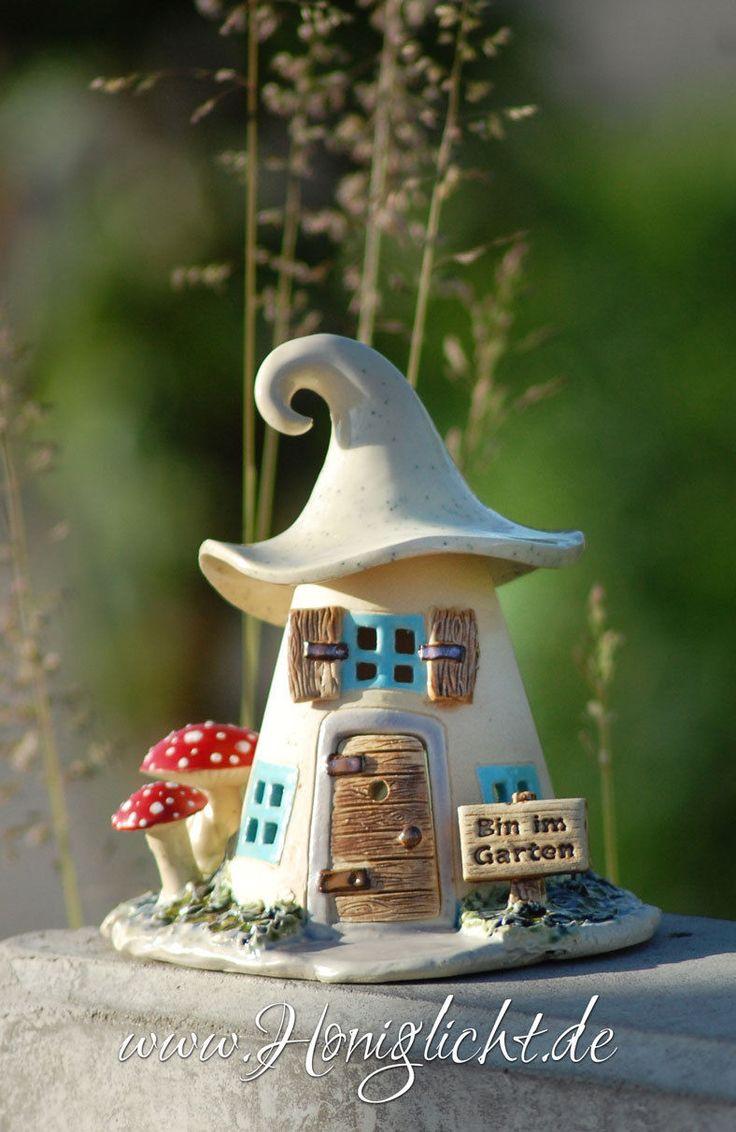 Windlicht Keramik Elfenhaus - mit Fliegenpilzen und Gartenschild in Antiquitäten & Kunst, Porzellan & Keramik, Keramik | eBay!