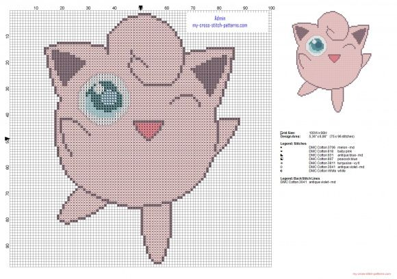 Jigglypuff pokemon first generation number 039 cross stitch pattern (click to view)