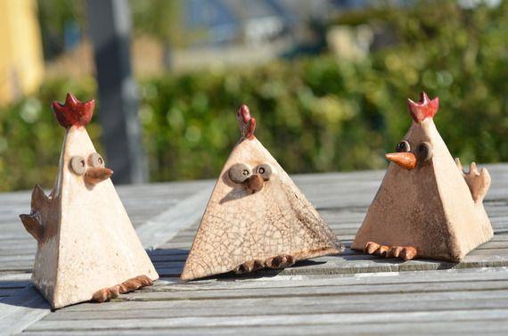 """Lot de 3 sculptures céramique en raku """"Les cocottes"""" - petites craquelures"""