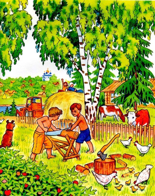 Занятия людей летом картинки