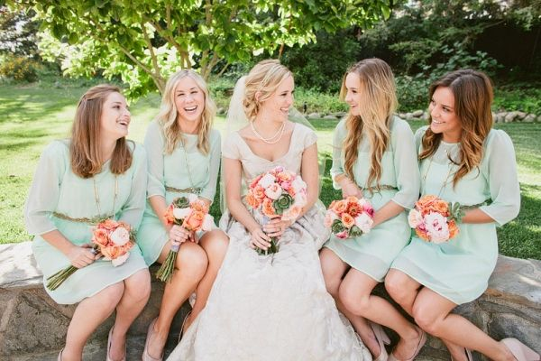 love all of this!Dresses Wedding, Peaches Wedding, Mint Bridesmaid Dresses, Sleeve, The Dresses, Gold Wedding, Mint Green Bridesmaids, Green Bridesmaid Dresses, Chiffon Bridesmaid Dresses