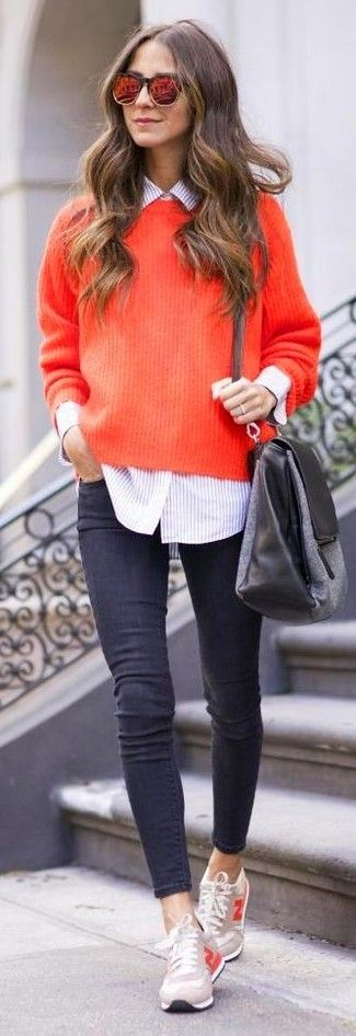 ORANGE LENSE SUNGLASSES.BOARD BY MARIA FANO - mariafano.com -Women's Red Sunglasses, Pink Vertical Striped Dress Shirt, Red Knit Oversized Sweater, Grey Canvas Crossbody Bag, Charcoal Skinny Jeans, and Beige Low Top Sneakers